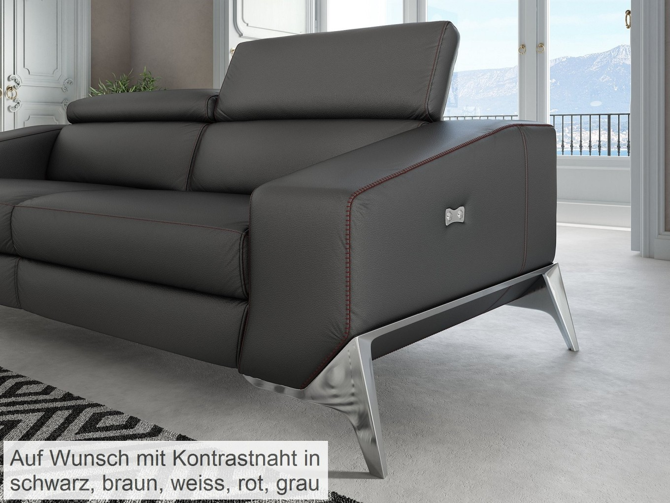 sofa leder schwarz rolf benz 322 designer sofa schwarz. Black Bedroom Furniture Sets. Home Design Ideas
