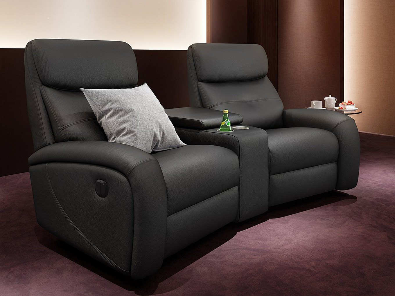 Heim kinosofa leder garnitur relax couch tv sofa kino for Sofa 2 sitzer leder