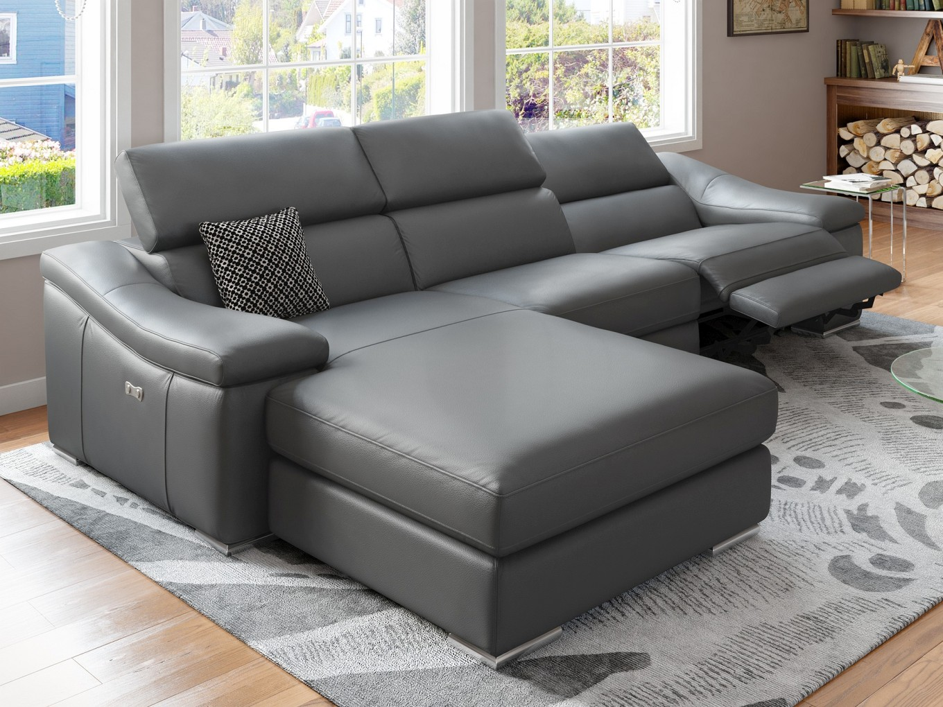 Leder couch ecksofa garnitur kino tv funktions sofa relax for Sofa garnitur