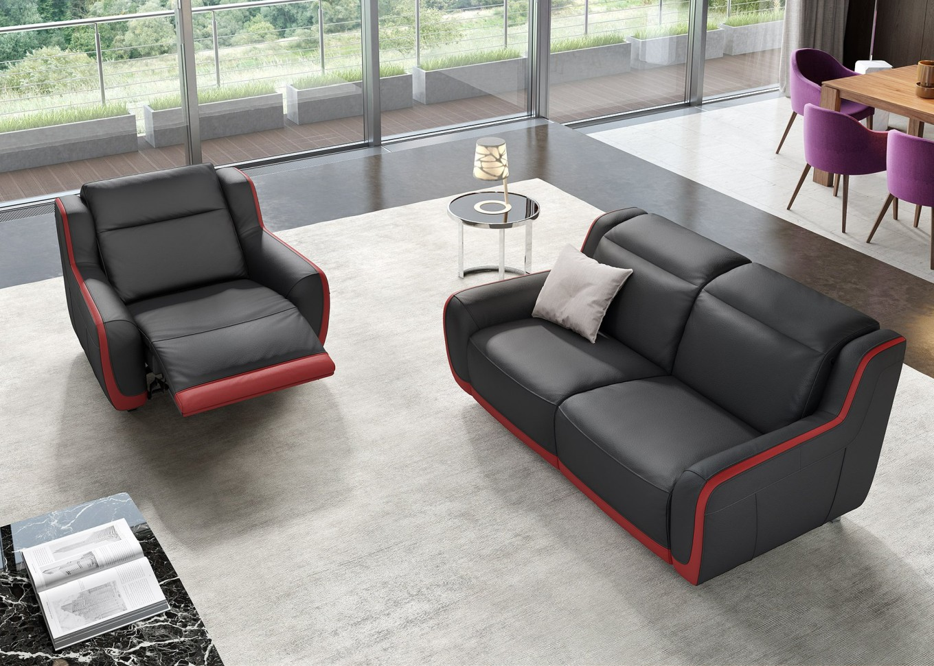 relax leder sofa garnitur tv sessel couch garnitur wohnlandschaft 2 sitzer 2er ebay. Black Bedroom Furniture Sets. Home Design Ideas