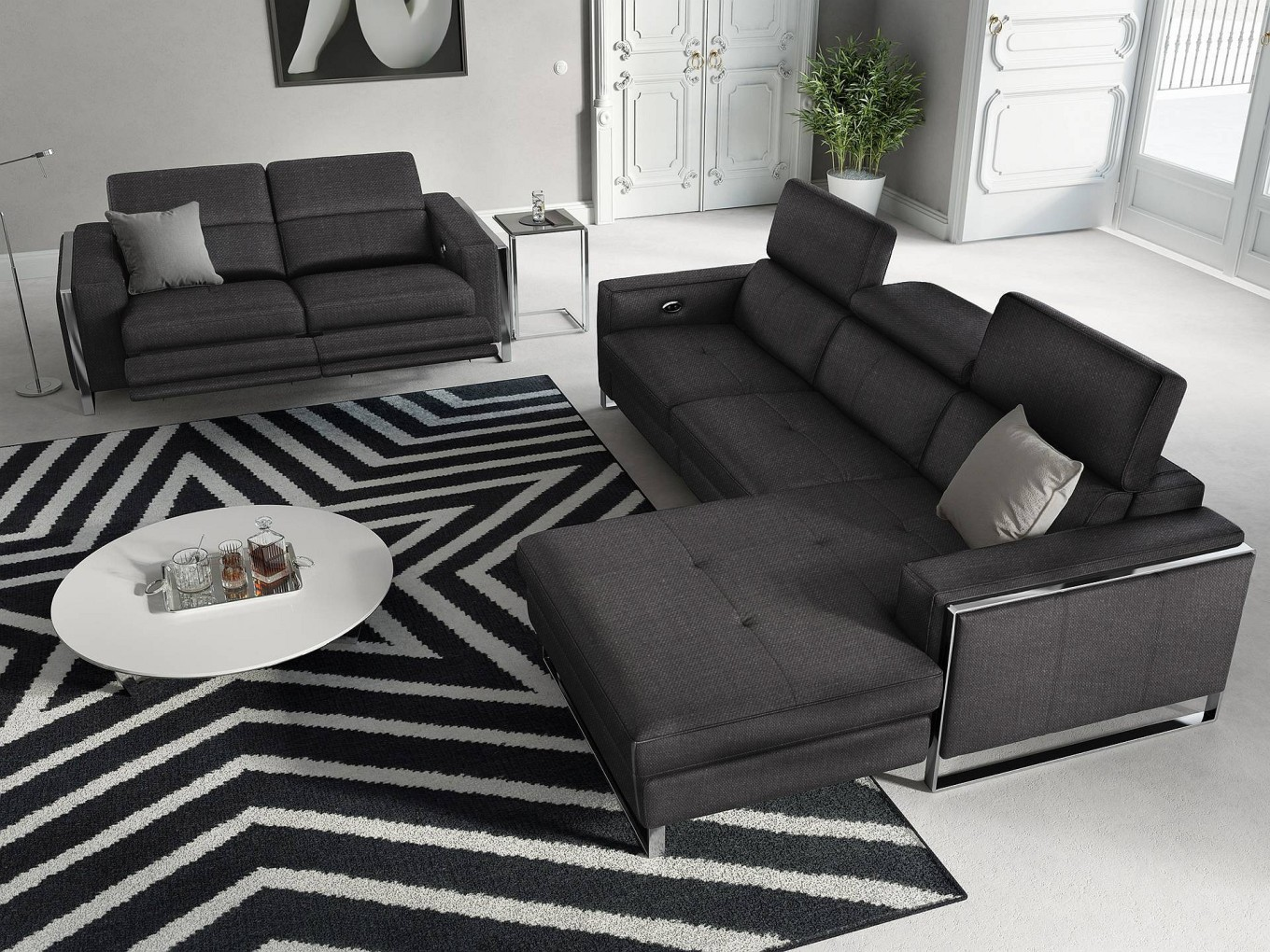stoff sofa garnitur relax funktion couchgarnitur funktionssofa fernsehsofa leder ebay. Black Bedroom Furniture Sets. Home Design Ideas